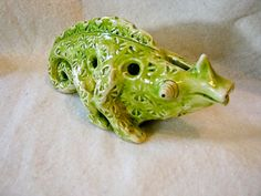 Lime Green Chameleon Ocarina. $75.00, via Etsy.