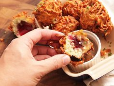 Thanksgivukkah recipes--  Latke-Crusted Turkey Stuffing Fritter with Liquid Cranberry Core and Turkey Schmaltz Gravy