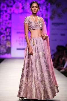 Rose zari embroidered lehenga set available only at Pernia's Pop Up Shop.