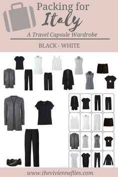 Travel Capsule Wardrobe Packing: Italy, September 2016 - The Vivienne Files What to pack for travel to Italy; A travel capsule wardrobe in black and whiteWhat to pack for travel to Italy; A travel capsule wardrobe in black and white Italy In September, October, Travel Capsule, Travel Packing, Packing Tips, Travel Tips, Weekend Packing, Europe Packing, Travel Wear