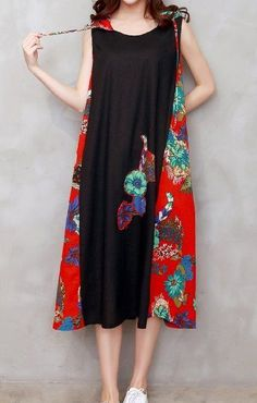 Women loose fit over plus size ethic flower patchwork cap dress linen tunic robe #Unbranded #dress #Casual