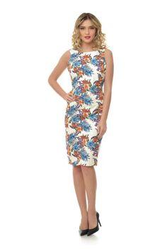 Rochie ivoire cu imprimeu floral RN156 -  Ama Fashion Formal Dresses, Floral, Fashion, Dresses For Formal, Moda, Formal Gowns, Fashion Styles, Flowers, Formal Dress