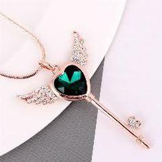 Top Clássico Da Moda Da Asa Do Anjo Coração De Cristal Chave Pingente De  Rosa Cor De Ouro Colar Longo grosso collier bijoux Femme halskette 1204a3e106