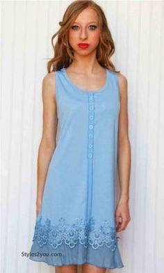 Kyle Ladies Tunic Dress In Light Blue Pretty Angel Tops