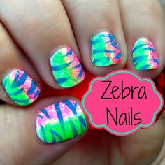Nail Art Fun: How To Paint Neon Zebra Nails