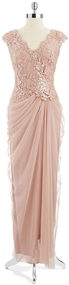 Tadashi Shoji Embroidered Mock Top Gown Antique Pink