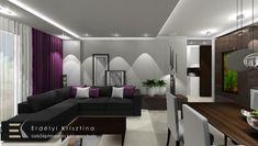 nappali ötletek - belsőépítészet - lakberendezés - - fehér-szürke-barna-lila - modern - LED világítás - Erdélyi Krisztina lakberendező - Vibia