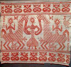 The image of the mother goddess. Russia. Wedding towel.1886 Россия.Конец свадебного полотенца.  1886 год