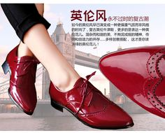 Free shipping new fashion patent leather lace Neutral low square heel 3cm casual oxfords spring ankle women shoes US $46.00