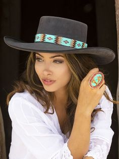 Czech Glass Loomed or Peyote Stitched Hatband Cowboy Hat Styles, Cowboy Hat Bands, Felt Cowboy Hats, Cowgirl Hats, Western Hats, Cowgirl Chic, Custom Cowboy Hats, Western Chic, Painted Hats