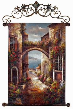 Decorating in Tuscan Style?  Spruce up your walls with the Archway to the Sea Canvas Wall Hanging