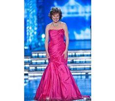 Mermaid/Trumpet Strapless Floor-length Chapel Train Evening Dress Inspired at Miss America