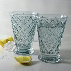 Gin and tonic time! Beautiful blue grey harlequin glasses perfect for water, long cocktails or even ice cream sundaes