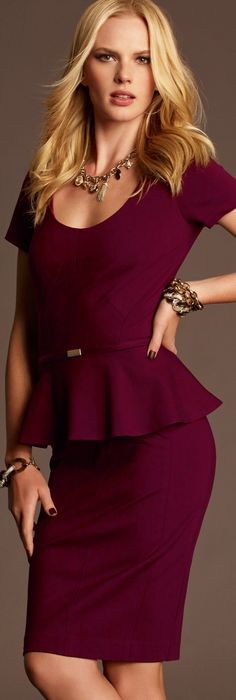 Ann Taylor-- a must have! So feminine. Have it in black and dark green. Need this color. change this board to: DayWear, Casual outfits and office suits Workwear Fashion, Office Fashion, Work Fashion, High Fashion, Womens Fashion, Fashion Design, Magenta, Plum Purple, Purple Dress