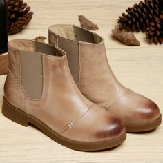 59.40$  Buy here - http://ai96o.worlditems.win/all/product.php?id=32793790192 - Genuine Leather Women boots Handmade Autumn Winter Vintage Cow Leather Flat heels Mori gril Women shoes Blue and Brown colors