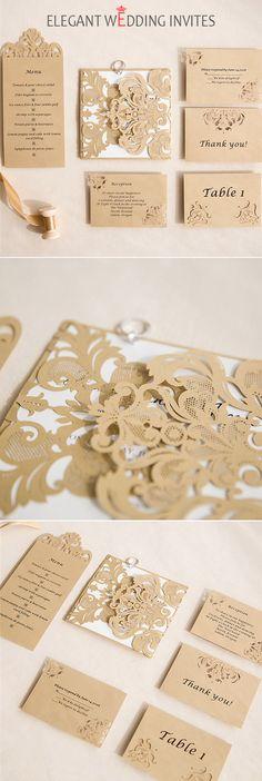 romantic laser cut invitation suite with matching enclosure cards