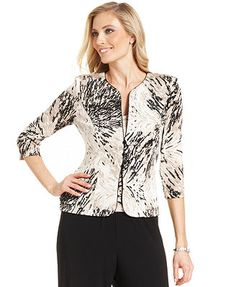 Alex Evenings Jacket Set, Three-Quarter-Sleeve Printed Glitter