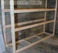 How to Make a Basement Storage Shelf Basement Storage Shelves, Diy Wood Shelves, Wood Storage Box, Garage Shelving, Garage Shelf, Simple Workbench Plans, Kayak Storage Rack, Basement Furniture, Diy Furniture