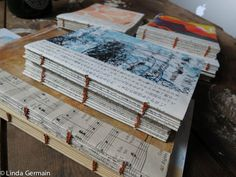 Use monotype prints to make artists books with a coptic stitch binding. Daily practice will develop the skills http://www.lindagermain.com/2014/08/monotypes-into-artists-books/