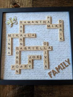 Started Christmas Presents already for grandparents! Scrabble tiles with names of their children & spouses along with their children. Scrapbook frame was purchased at Hobby Lobby, add some hot glue and scrabble tiles (purchased in bulk on Amazon and you are good to go!) #cheapchristmaspresentideas