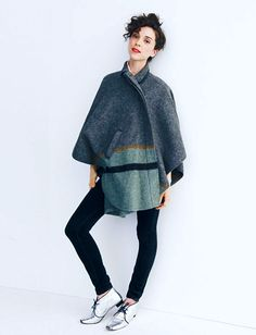 style muse st vincent/annie clark :: for madewell, shiny shoes, wool cloak St Vincent Annie Clark, Shiny Shoes, Future Clothes, Short Curly Hair, Style Icons, Style Me, Dressing, Normcore, Swimsuits