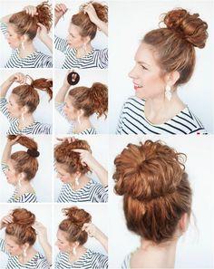 Frisur für mittellanges lockiges Haar - hoch gesteckter Dutt