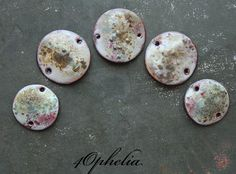 olive green pink blue enamel with glass lampwork jewelry supplies 4pc 4ophelia