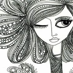 "another ""bad hair day"" lesson reference. kind of ""zentangle-ish"""