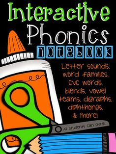 Interactive Phonics Notebook - Fun Activities For Your Phonics Instruction. This set of interactive activities fills 95 pages for your students' notebooks!!