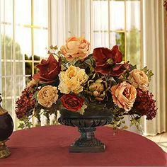 "{Factory Direct Sale} 10"" 6 Branch 18 Heads Artificial Spring Silk Flowers Camellia Magnolia Floral Wedding Peony Arrangement Bouquet Hydrangea Decor -- Mixed Orange"