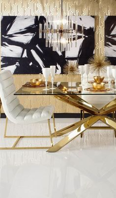 Le Style Hollywood Regency - Decoration for Home Dining Room Walls, Dining Room Lighting, Dining Room Design, Table Lighting, Apartment Interior Design, Modern Interior Design, Gold Interior, Modern Interiors, Interior Paint