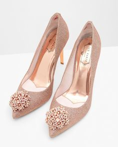 e7c3ba98b71 PEETCH brooch detail court shoe in Rose Gold by Ted Baker.