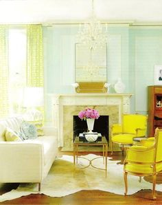 Classic Living Room With Fireplace Aqua & Yellow Interior