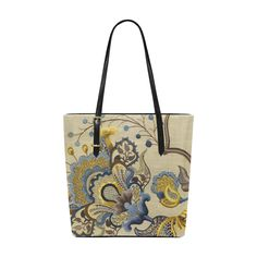 Blue Gold Jacobean Floral Embroidery Pattern Euramerican Tote Bag/Small (Model 1655)