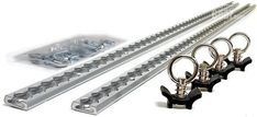 Here's what you get with a set of Uni-Trax: Two extruded aluminum tracks (choose 3 or 4 foot length), mounting hardware, and 4 Load Locks stainless steel ring anchors. Vw T5, Volkswagen, Custom Trailers, Camper Trailers, Camping Accessories, Truck Accessories, Jeep Jku, Off Road Camping, Overland Truck