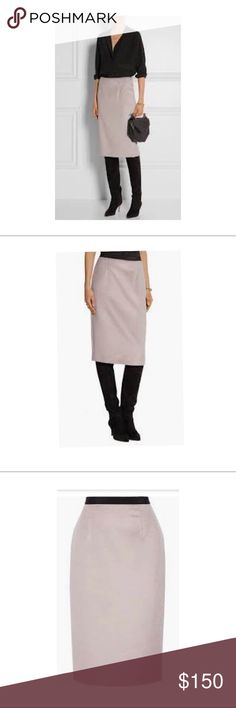 Burberry London Pencil Skirt Burberry London Grosgrain Trimmed Llama Hair and Wool Blend Pencil Skirt   Pre-owned US Size 14 Burberry Skirts Midi