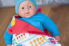 Schlafsack für Puppe nähen mit Klettverschluss