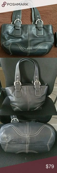 Coach Leather Soho Black Tote Sliver Buckle This bag is in excellent condition.  Please look at all photos.  Thanks! Coach Bags Totes