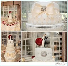 Oh-So-Beautiful wedding cake.   White cake with beige and rhinestones details and a stunning bow with a broach.    Just a Dream Photography