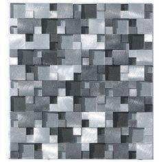 Aluminum Glass Split Face 3D Tile Silver Mix
