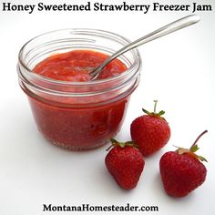 Honey Sweetened Strawberry Freezer Jam. Quick, easy, delicious and requires no cooking! Montana Homesteader