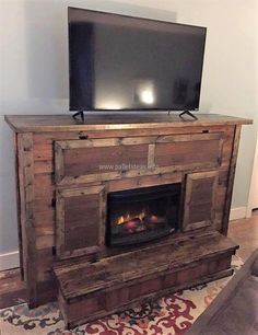 The idea shown here is for those who love to enjoy sitting near fire in the winter season. The reclaimed wood pallet firepit and TV stand is simple in looks as well as simple to copy. It also offers space to place the items besides the TV to adorn the area.