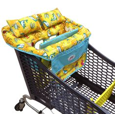 Very comfortable Shopping Cart Cover for babies with removable cushions and pillows, a phone pocket, two large pockets, safety strap and bottle straps made by All Pro Baby.