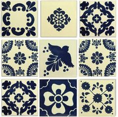 The Blue and White Mexican Talavera Tile Collection is one square foot (nine tiles) of lovely blue and creamy white traditional Talavera tiles in the most classic, recognizable Mexican designs. Mexican Pattern, Talavera Pottery, Ceramic Pottery, Ceramic Art, Mexican Kitchens, Traditional Tile, Tuile, Spanish Style Homes, Spanish Revival