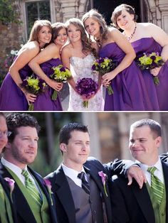 we'll have purple dresses and purple/green/white bouquets for the 7 bridesmaids and black suits, green ties and purple boutonierres for the 7 groomsmen.