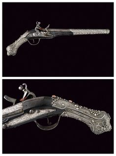 Silver and coral mounted flintlock pistols originating from Turkey, early 19th century.