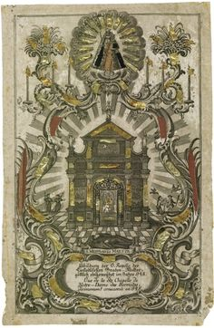 H. Kapelle Maria Einsiedeln  An 18th century engraving depicting the chapel in the abbey church of Einsiedeln, Switzerland's most important place of pilgrimage.