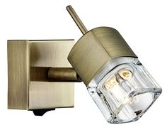 Haysom Interiors Compact Switched Wall Light with Ice Cube Shade, Steel, Antique Brass Wall, Wall Light With Switch, Brass, Wall Lights, Lamp, Light, Interior, Lighting, Steel