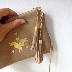 Natural leather purse / 100% repurposed black leather / mini clutch bag / make up bag. $55.00, via Etsy.