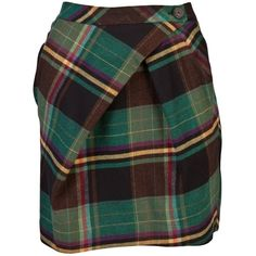 VIVIENNE WESTWOOD ANGLOMANIA PLAID SKIRT ($385) ❤ liked on Polyvore featuring skirts, mini skirts, bottoms, saias, юбки, women, pleated skirt, green skirt, green mini skirt and black skirt